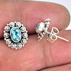 925 sterling silver 2.60cts natural blue topaz stud earrings jewelry r55356