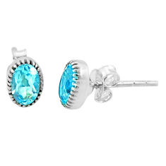925 sterling silver 1.90cts natural blue topaz stud earrings jewelry r87472