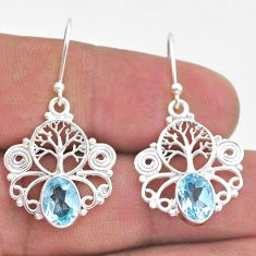 925 sterling silver 4.06cts natural blue topaz tree of life earrings t47071