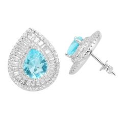 925 sterling silver 10.84cts natural blue topaz white topaz stud earrings c19441