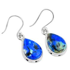 925 sterling silver 11.57cts natural blue turquoise azurite earrings t37619
