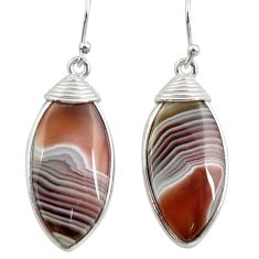 925 sterling silver 16.32cts natural brown botswana agate dangle earrings r28987