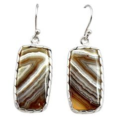925 sterling silver 16.88cts natural brown botswana agate dangle earrings r29000