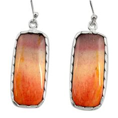 925 sterling silver 21.05cts natural brown mookaite dangle earrings r28835