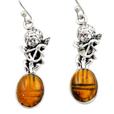 925 sterling silver 7.54cts natural brown tiger's eye angel earrings d46773