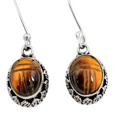 925 sterling silver 7.66cts natural brown tiger's eye dangle earrings d40411