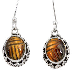 925 sterling silver 7.51cts natural brown tiger's eye dangle earrings d40414