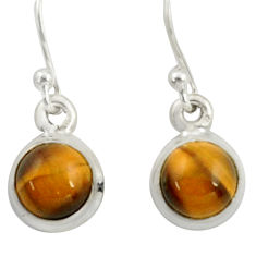 925 sterling silver 4.48cts natural brown tiger's eye dangle earrings r41084