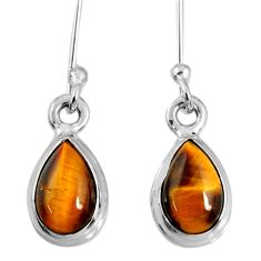 925 sterling silver 4.05cts natural brown tiger's eye dangle earrings r60711