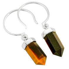 925 sterling silver 10.50cts natural brown tiger's eye dangle earrings r95132