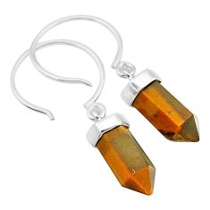 925 sterling silver 8.46cts natural brown tiger's eye dangle earrings t20572