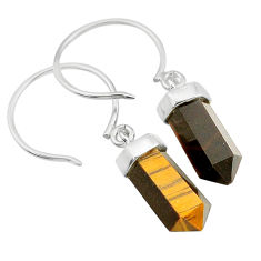 925 sterling silver 9.82cts natural brown tiger's eye dangle earrings t20580