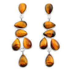 925 sterling silver 17.49cts natural brown tiger's eye dangle earrings t30295
