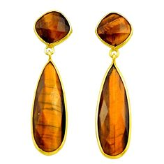 925 sterling silver 28.13cts natural brown tiger's eye earrings jewelry r32500