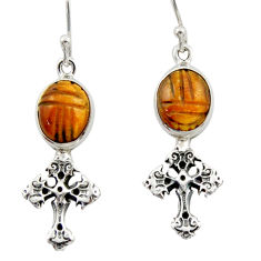 925 sterling silver 7.33cts natural brown tiger's eye holy cross earrings d46778