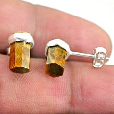 925 sterling silver 6.27cts natural brown tiger's eye stud earrings t36264