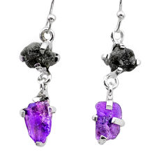 925 sterling silver 8.10cts natural diamond rough amethyst raw earrings t26799