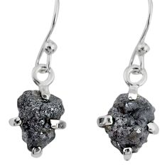 925 silver 3.83cts natural diamond rough handmade dangle earrings r79164