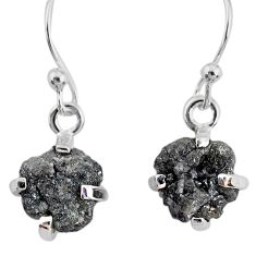 925 silver 3.75cts natural diamond rough handmade dangle earrings r79173