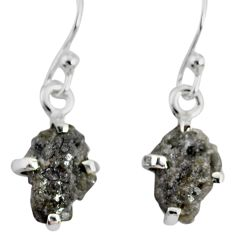 925 silver 3.75cts natural diamond rough handmade dangle earrings r79176