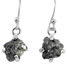 925 silver 3.81cts natural diamond rough handmade dangle earrings r79184