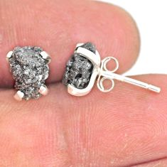 925 sterling silver 3.97cts natural diamond rough handmade stud earrings r79064