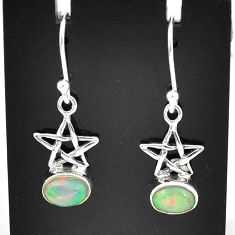 925 sterling silver 2.50cts natural ethiopian opal dangle star earrings t5951