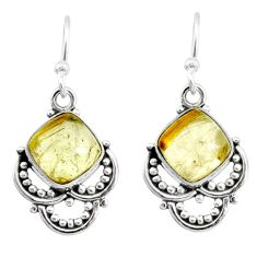 925 sterling silver 7.64cts natural golden tourmaline rutile earrings r73010