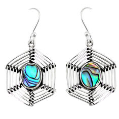 925 sterling silver 5.28cts natural green abalone paua seashell earrings r77784