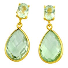 925 sterling silver 21.05cts natural green amethyst 14k gold earrings r31528