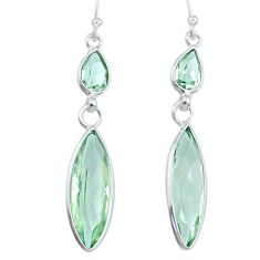 925 sterling silver 12.99cts natural green amethyst dangle earrings r73264