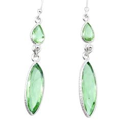 925 sterling silver 13.08cts natural green amethyst dangle earrings r83668