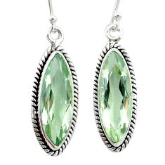 925 sterling silver 14.90cts natural green amethyst dangle earrings t23764