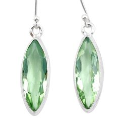 925 sterling silver 12.07cts natural green amethyst dangle earrings t23768