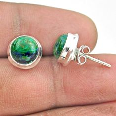 925 sterling silver 6.33cts natural green azurite malachite stud earrings t52443