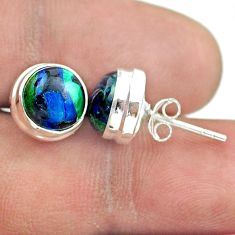 925 sterling silver 5.72cts natural green azurite malachite stud earrings t52464