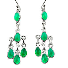 925 sterling silver 10.15cts natural green chalcedony chandelier earrings r37544