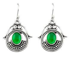 925 sterling silver 4.70cts natural green chalcedony dangle earrings r19865