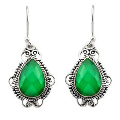 925 sterling silver 8.32cts natural green chalcedony dangle earrings r30951
