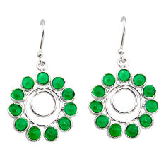 925 sterling silver 9.72cts natural green chalcedony dangle earrings r35571