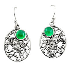 925 sterling silver 2.25cts natural green chalcedony dangle earrings r38084