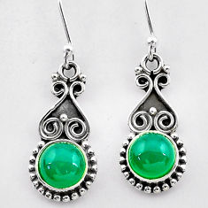 925 sterling silver 2.44cts natural green chalcedony dangle earrings t26944