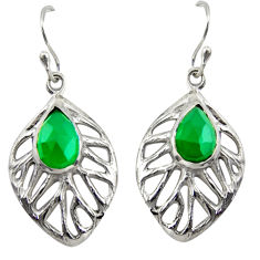 925 sterling silver 4.40cts natural green chalcedony leaf earrings r39184