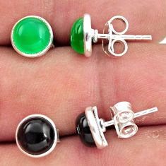 925 sterling silver 5.49cts natural green chalcedony onyx stud earrings r41244