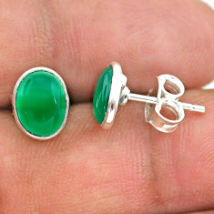 925 sterling silver 3.75cts natural green chalcedony stud earrings t29264
