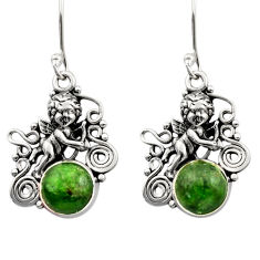 Clearance Sale- 925 sterling silver 9.03cts natural green chrome diopside angel earrings d40799
