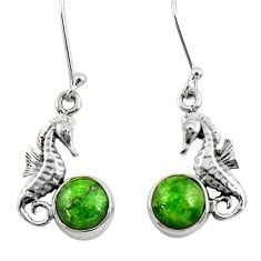 Clearance Sale- 925 sterling silver 6.70cts natural green chrome diopside dangle earrings d39731