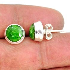 925 sterling silver 7.96cts natural green chrome diopside stud earrings r73060