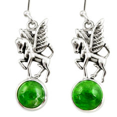 925 sterling silver 6.54cts natural green chrome diopside horse earrings d39917