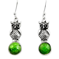 Clearance Sale- 925 sterling silver 6.26cts natural green chrome diopside owl earrings d39735